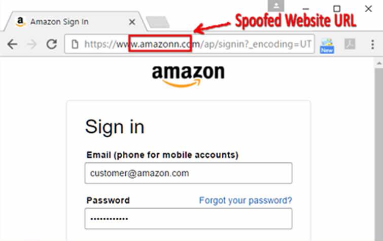 Amazon Spoofed Website